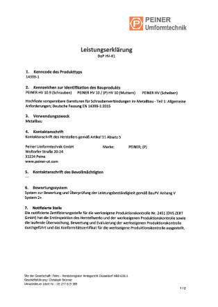 Leistungserklärung DoP HV-K1 - deutsch
