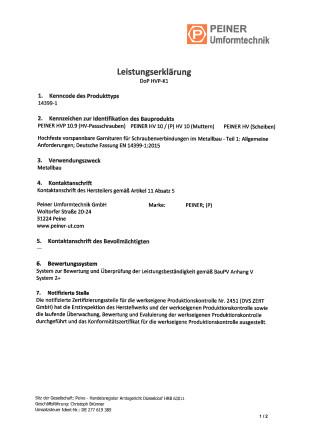 Leistungserklärung DoP HVP-K1 - deutsch